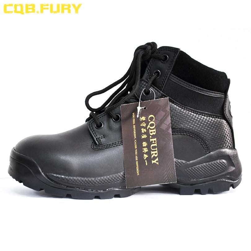 Cqb. fury 분할 가죽 망 군사 부츠 블랙 지퍼 전술 가죽 부츠 전투 착용 가능한 발목 스트랩 육군 부츠 크기 38 46-에서오토바이 부츠부터 신발 의  그룹 2
