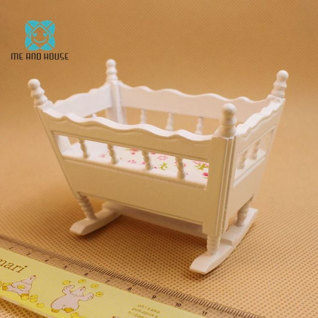 1:12 Doll House miniature handmade modern wooden furniture crib baby cradle children room