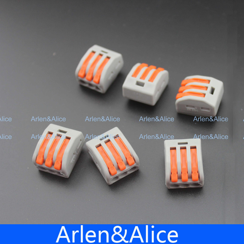 100Pcs PCT-213 3 Pin Universal compact wire wiring connector conductor terminal block with lever gray 5pcs lot aon7406 7406 mosfet metal oxide semiconductor field effect transistor