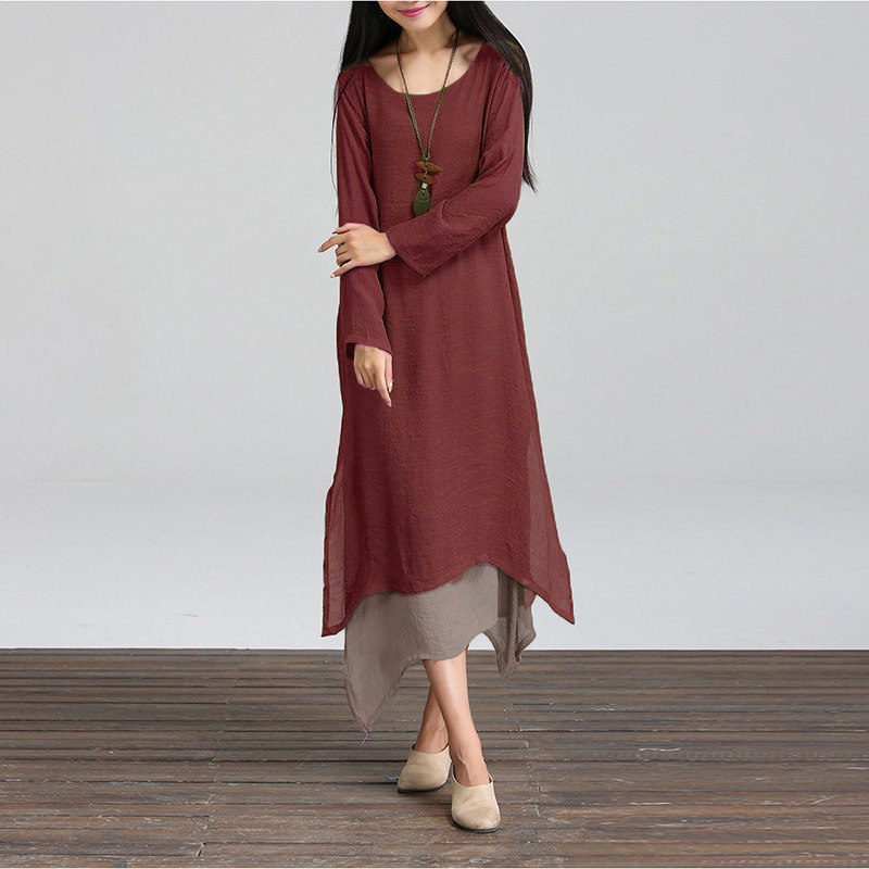Fashion Autumn 2016 Women Dress Cotton Linen O Neck Long Sleeve Casual Loose Boho Long Dresses Vestidos Plus Size S-5XL