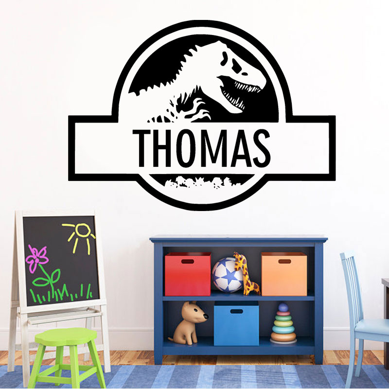 Personalised Name Wall Vinyl Sticker Jurassic Park Dinosaur Decal Custom Name For Boy Bedroom Creative Home Decoration DIY B617