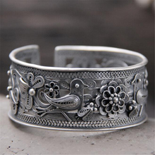 925 Sterling Silver Handmade Opening Bracelets & Bangle Top quality Cute Bird Flower Bangle for Women Chinese Elements Bijoux s999 sterling silver bangle opening clasp incense cloud retro embossed handmade jewelry