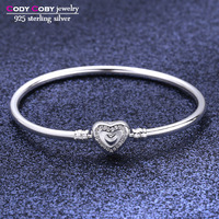 100% 925 sterling silver love hearts hand bracelets & bangles fit original charms for femme berloques para pulsera jewelry gift