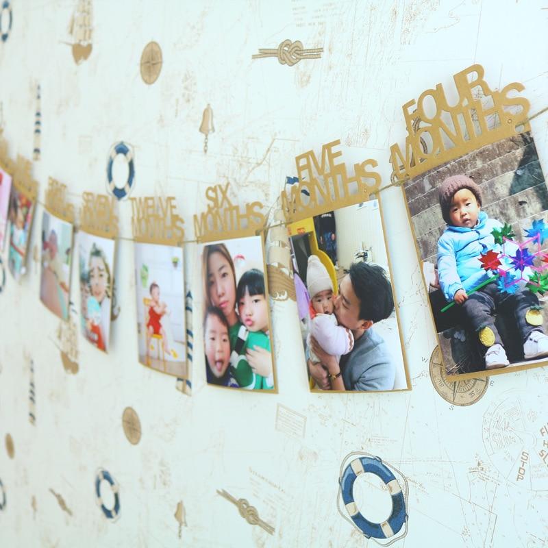Foto parede decorações diy foto bandeira um mês a doze meses bebê criança festa de aniversário banners puxar bandeira suprimentos