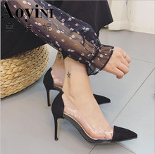 Zapatos Mujer Thin High Heels Ankle Women Pump Ladies Wedding Shoes Woman  Sapato Jelly Clear Chaussure 9fdc85b67fc1