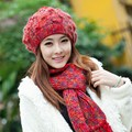 Hat scarf twinset autumn and winter beret hat female winter knitted hat women's wool thermal scarf cold winter outdoor warm cap
