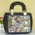 Edgy Chic Colorful Rhinestone Ornament Ladies Patent Leather Handbag Adorable Hello Kitty Women Fashion Embossing Shoulder Bag