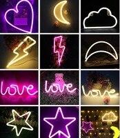 Aimbinet Led Night Lamp USB Or Battery Heart Love Lightning Marquee Neon Light Sign Wall Light