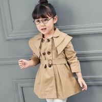 New England Style Autumn Children Clothing Girls Trench Coats Long Sleeve Collect Waist belt Outerwear&Coats Wind Jackets XL213