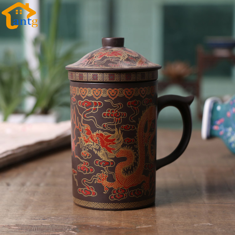 Taza de té china Yixing de 300 ml, Purple Clay Dragon y Phoenix Tea Pot con filtro / infusor para juegos de café y té