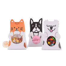 100 Pcs Candy Box Kids Birthday Party Creativity Cartoon Dog Cat Chocolate Cookies Bags Plastic Paper Gift Packaging