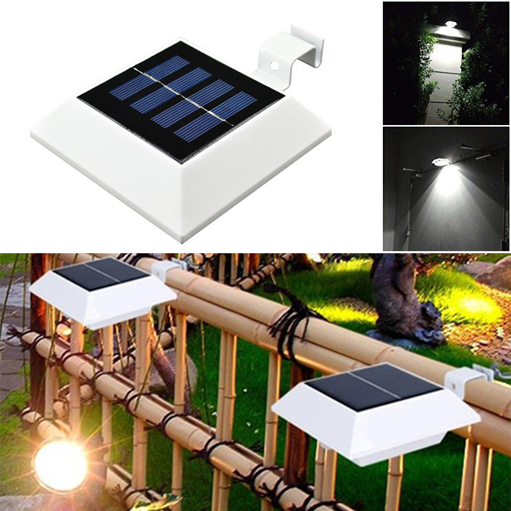Popular solar garden fence buy cheap solar garden fence lots from 4x outdoor solar powered 4 led lights waterproof pathway wall mounted garden baanklon Choice Image
