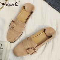 EISWELT Bayanlar Ayakkabı Akın Kadın Loafer'lar Kadınlar için Yaz Düz Ayakkabı Ayakkabı Mokasen Moda Toka Kare Ayak Flats # ZQS276