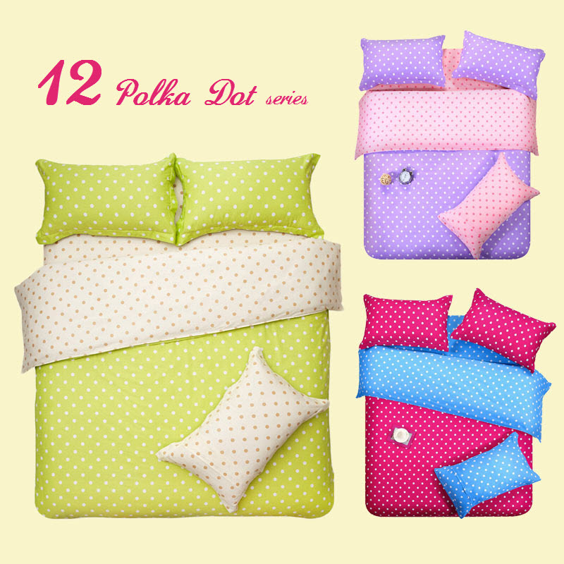 Double Colors Blue And Peach Patchwork Polka Dot Bedding Cotton