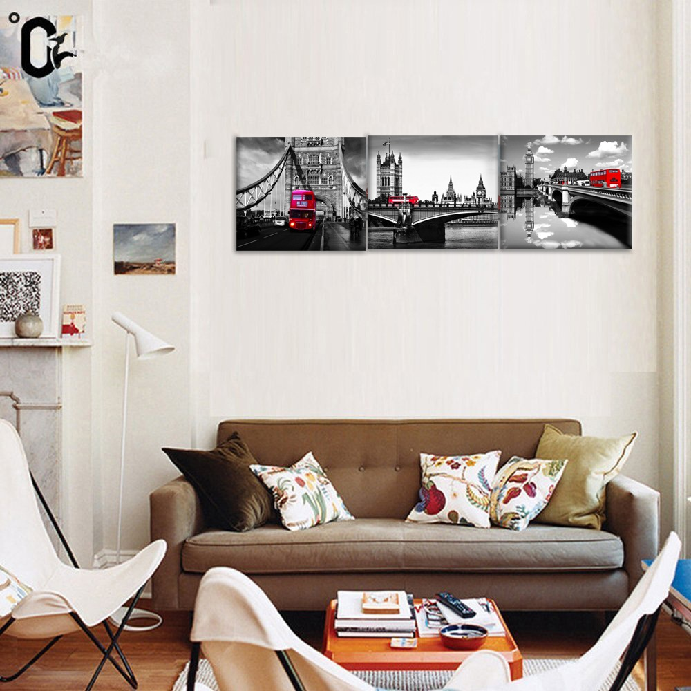 3 Pcs Black White London Bridge Red Bus Canvas Painting Wall ...