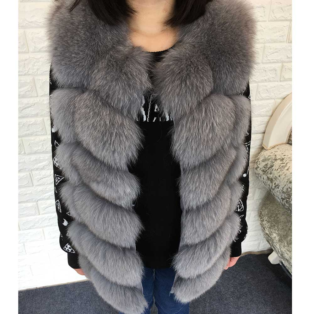 OFTBUY 2019 New Spring Winter Jacket Women Natural Real Fox Fur Vest Sleeveless  Coat Thick Warm Streetwear Outerwear Casual