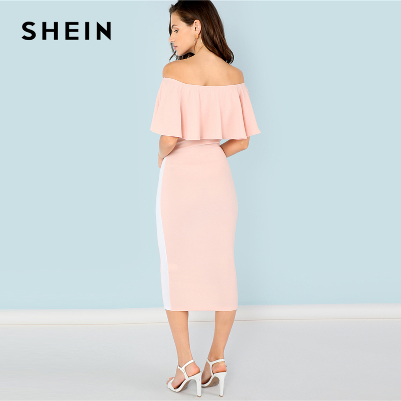 SHEIN Pink Elegant Party Flounce Foldover Front Off Shoulder Contrast Tape  Natural Waist Dress Summer Women Going Out Dresses-in Dresses from Women s  ... 2970a8ec7472