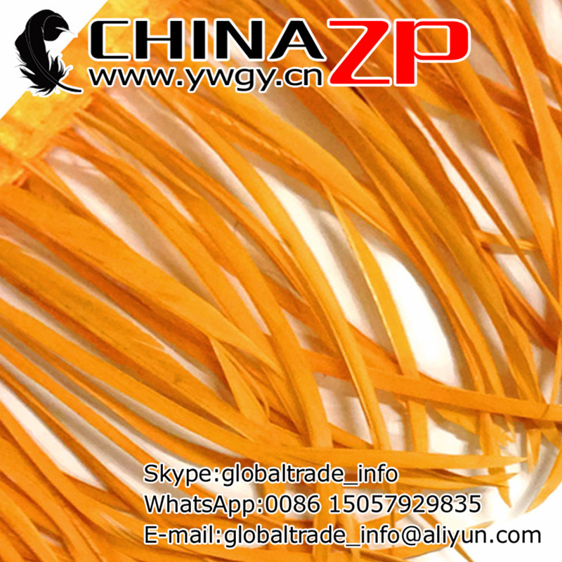Leading Supplier CHINAZP Factory Wholesale 10yards/lot Dyed Gold Stripped Goose Biots Feather Fringe Trim