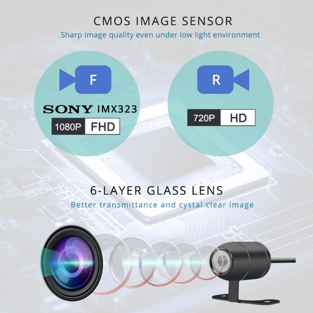 SYS VSYS M6L WiFi de la motocicleta DVR Dash Cam Full HD 1080 P HD + 720 P delantera y trasera vista impermeable motocicleta negro cámara grabadora caja - 4