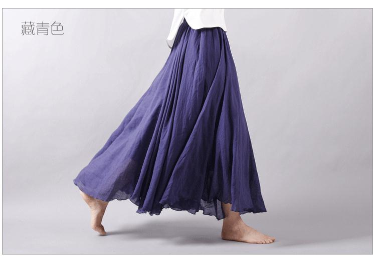 Sherhure 19 Women Linen Cotton Long Skirts Elastic Waist Pleated Maxi Skirts Beach Boho Vintage Summer Skirts Faldas Saia 42
