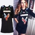 Invierno grueso bordado t shirt dress mujeres bolsillos marca o cuello de algodón casual vestidos loose negro animal robe femme 096