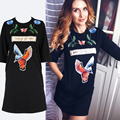 Winter Thick Embroidery T Shirt Dress Women Brand Pockets O Neck Cotton Casual Dresses Loose Black Animal robe femme 096