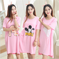 New 2017 Lounge Cartoon Women Nightgown lovely Cartoon 90S Women's Sleepwear Summer Cool Short Sleeve Dress Loose Sleepshirt