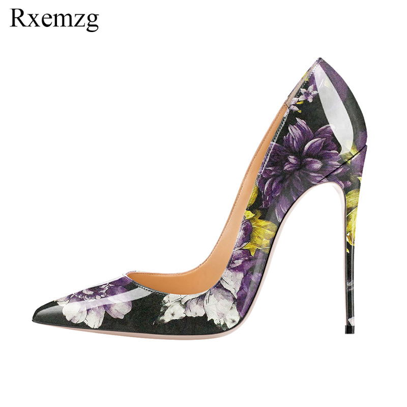 Rxemzg new elegant hand printing women pumps pointed toe thin heels pumps womans shoes fashions 2019