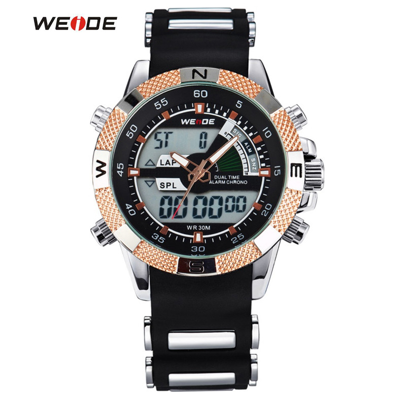 WEIDE Watches Men's Casual Watch Multifunction LED Watches Dual Time Zone With Alarm Sports Waterproof Quartz Wristwatches weide 2017 new quartz casual watch army military multiple time zone sports watch waterproof back alarm men watches alarm clock