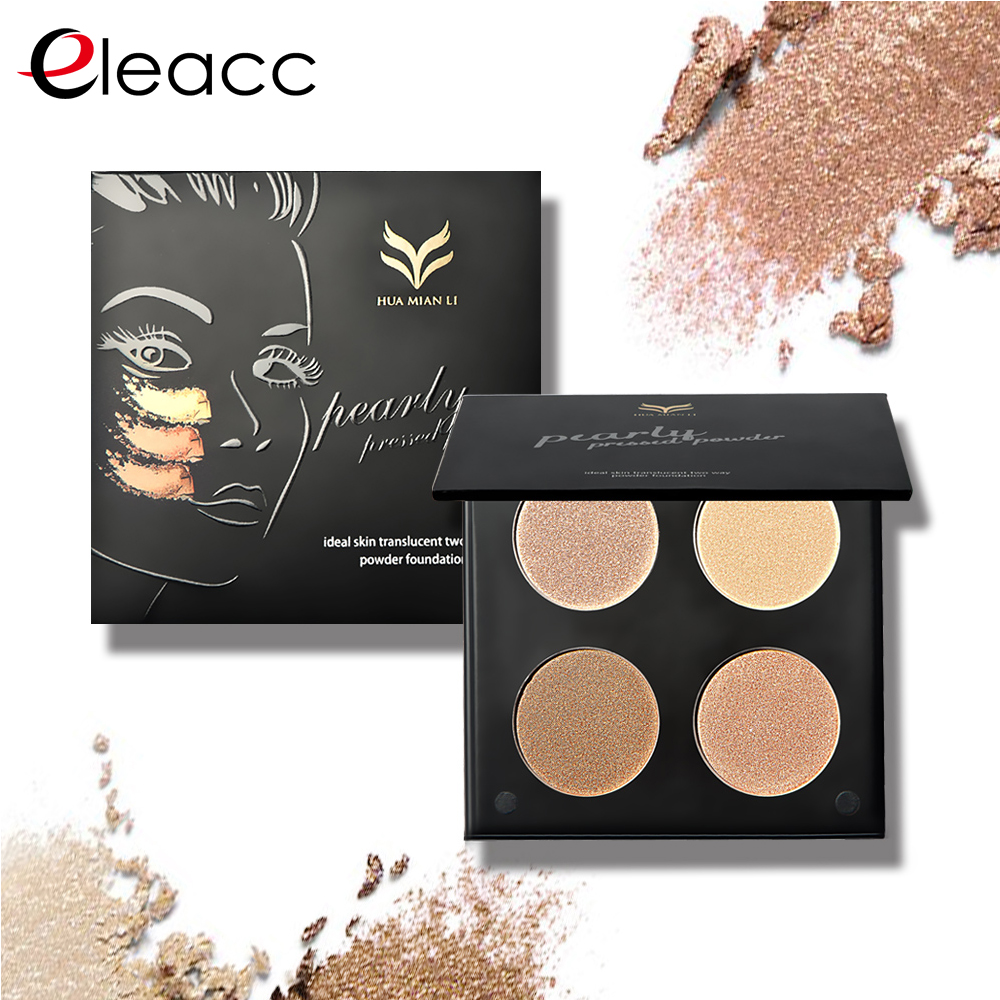 Highlight Highlighter Powder Palette Make Up eye shadow Cosmetic Trimming Face Cosmetic <font><b>Contour</b></font> Powder Brown 4 Colors Bronzer