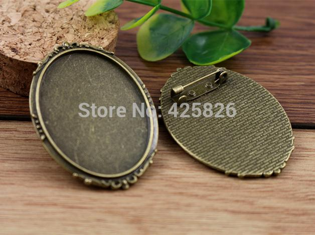 New Fashion  2pcs 30x40mm Inner Size Antique Bronze Pin Brooch Simple Style Base Setting Pendant (B1-09)