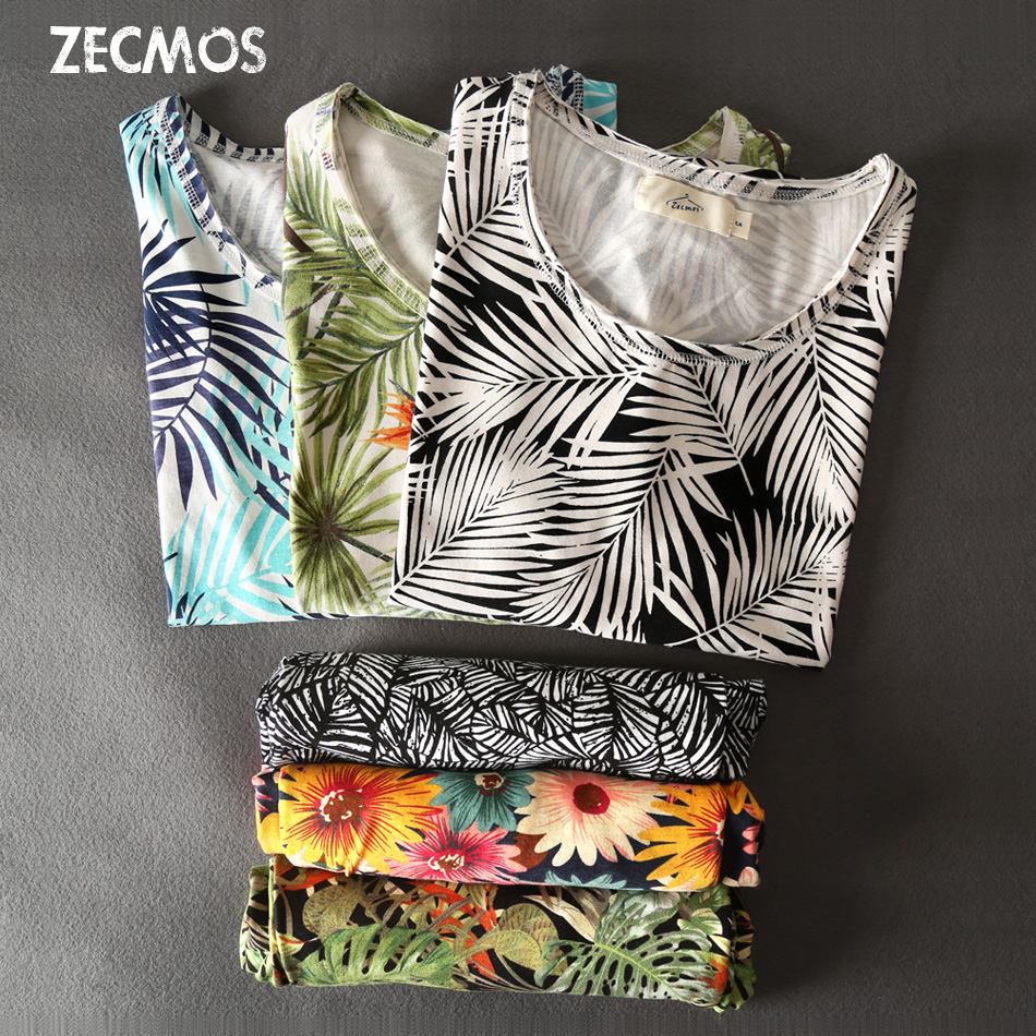 Zecmos Flowers Print T-Shirt For Men 2017 Summer New T Shirt Men Floral Hawaiian Fashion Tops Casual Tees Brand Clothing