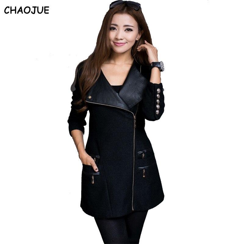 CHAOJUE Woolen overcoat female 2017 Autumn patchwork zipper slim ...