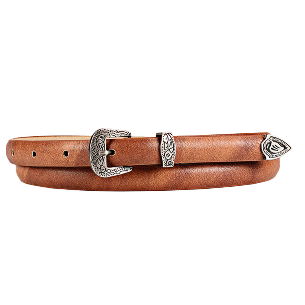 2017 Newest Women's Vintage Carve Thin Waist   Belt   Trendy and All-matching Faux Leather Waistband Fashion Pin Metal Buckle Straps