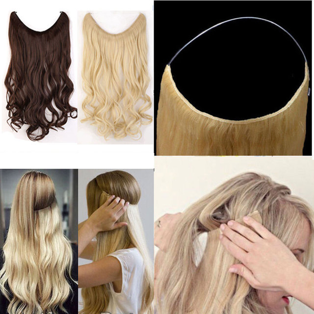 S-noilite 20 inches Invisible Wire No Clips in Hair Extensions Secret Fish Line Hairpieces Silky Straight real natural Synthetic 5
