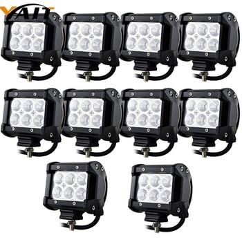 10PCS 18w 4 inch Flood LED Work Light Bar for Jeep Truck Car ATV SUV 4X4 Truck Driving Lamp