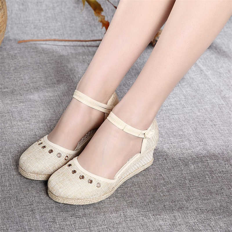 03919533a4c Women Sandals Casual Linen Canvas Wedge Espadrilles Sandals Summer Vintage  Embroidered Ankle Strap High Heel Platform Pump Shoes