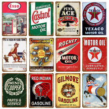 Red Indian Gasoline Esso Castrol Texaco Rocket Motor Oil Metal Poster Vintage Plaque Pub Bar Garage Decor Retro Tin Sign(China)