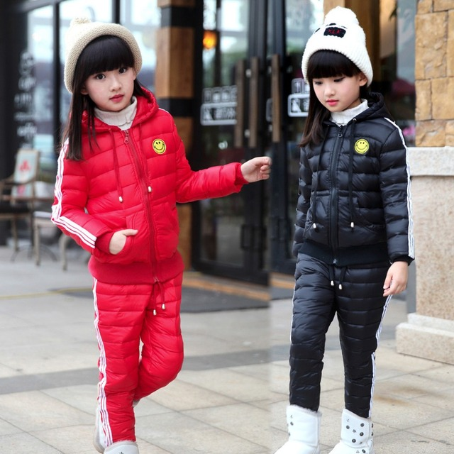 Nuevas Muchachas Abajo traje chaqueta niños ropa de Abrigo de Invierno conjunto deporte del bebé Chaquetas/capa + pantalones 2 unids juego para el invierno-30 grados