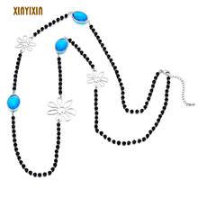 Длинное ожерелье из стекла для женщин и мужчин длинное с черными