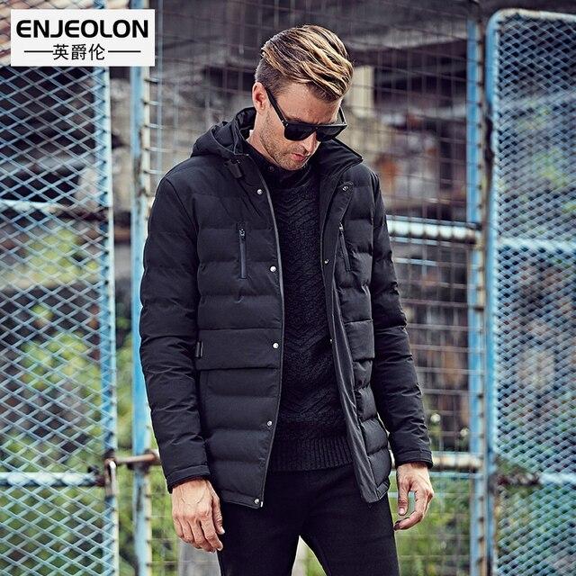 Enjeolon Brand Cotton Padded Hooded jacket Men windproof,Parka Men ... : quilted hooded coat - Adamdwight.com