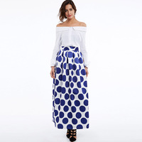 2017 New Size S M L XL 2XL Women Blue Fashion Skirt Spring Dot Patchwork