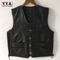 Moto Biker Male Sleeveless V Neck Single Breasted Leather Waistcoat Size Lacing Up Pocekts Plus Size S 4XL Mens Fashion Vests