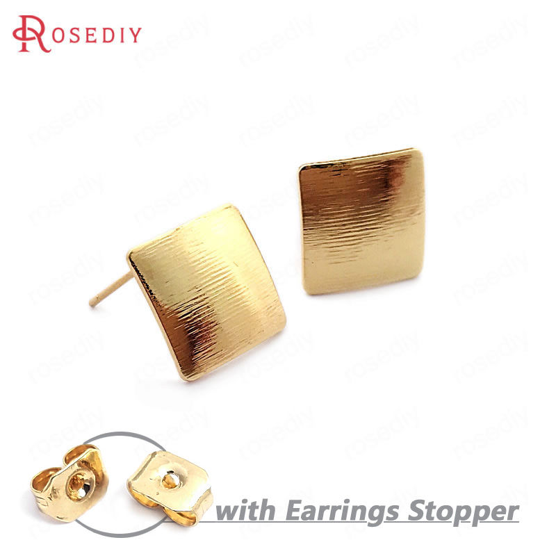 (33741)10PCS 13MM 24K Gold Color Brass Striped Arc Surface Rhombus Stud Earrings Pins High Quality Jewelry Findings Accessories