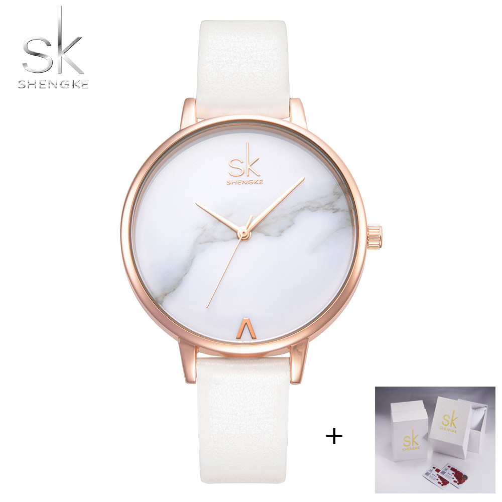 Shengke Top Brand Fashion Ladies Watches Leather Female Quartz Watch Women Thin Casual Strap Watches Reloj Mujer Marble Dial SK