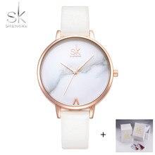 Shengke Лидирующий бренд модные женские часы кожаные женские кварцевые часы Для женщин тонкий Повседневное ремешок часы Reloj Mujer Мрамор циферблат sk