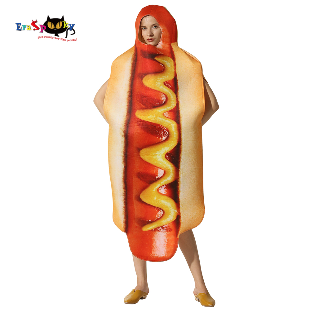 Eraspooky Men's Funny 3D Print Sausage Food Hot Dog Costumes Cartoon Halloween costume for adult Festival Fancy Dress Women 2018