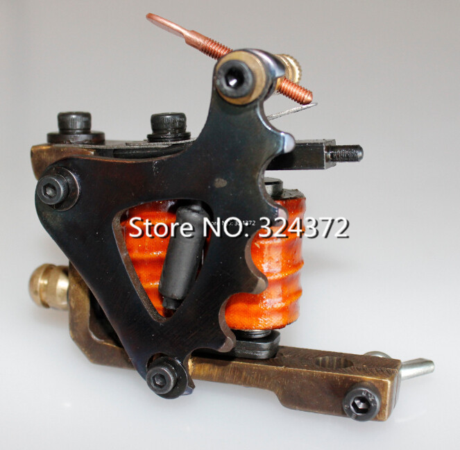 ФОТО professional 10 wraps shader handmade Cast brass frame Tattoo Machine Gun