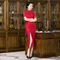 2016 Sexy Red Lace Cheongsam Dress Long Cheongsams Evening Gown Modern Qipao Dress Chinese Oriental Dresses Qi Pao Free Shipping