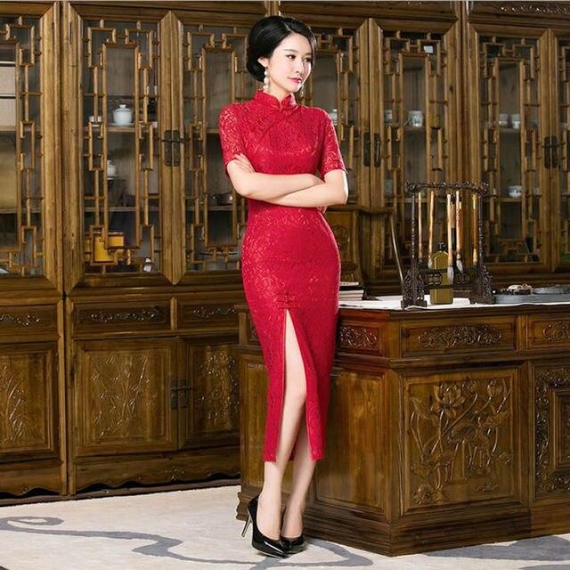 2016 Sexy Red Lace Cheongsam Dress Long Cheongsams Evening Gown Modern Qipao  Dress Chinese Oriental Dresses a4d2b584a4d4